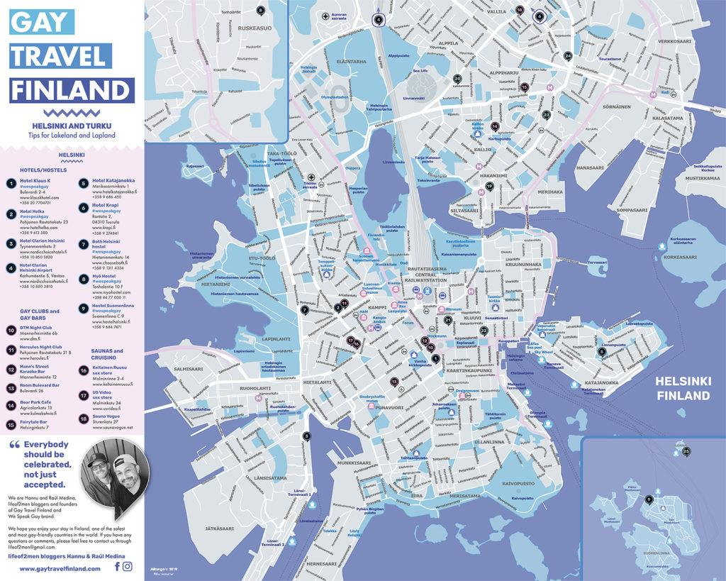 Gay Travel Finland Map / design and layout by Mia Immonen of Mimago