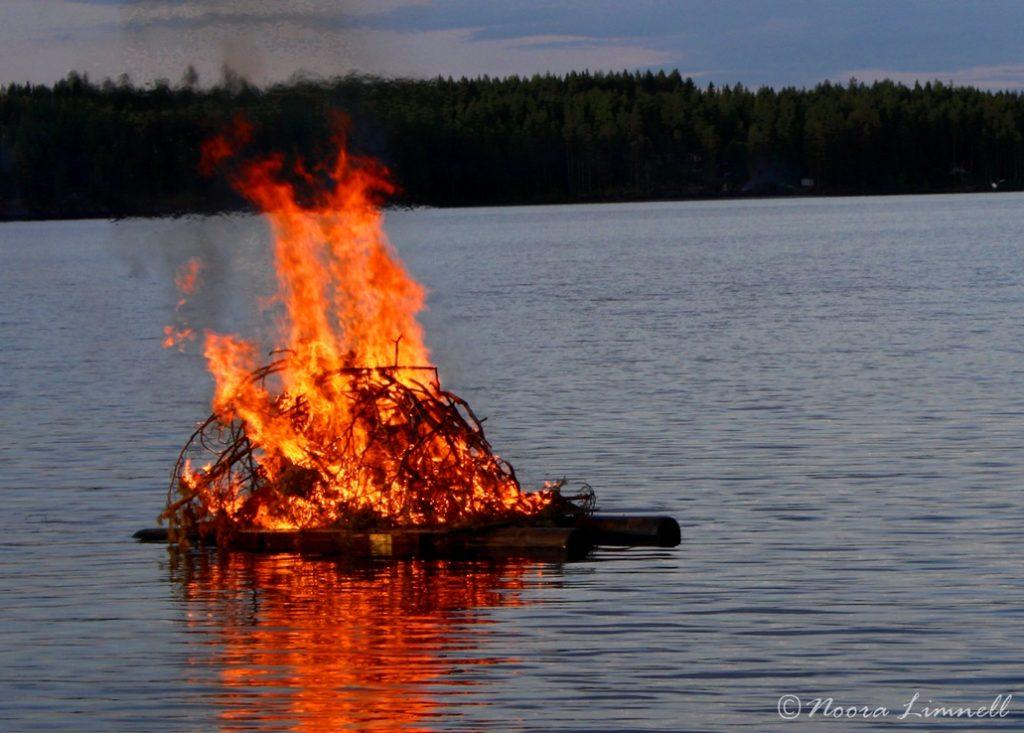 Bonfire in the middle of the lake